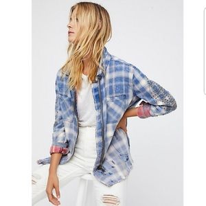 Free People Deconstructed Studded Flannel Jacket